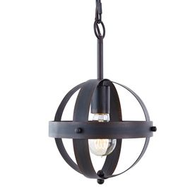 Allen Roth Barrington Distressed Black And Wood Rustic Mini Seeded Glass Cylinder Pendant