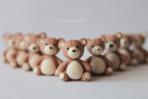Teddy bear charm, handmade with polymer clay, animal jewelry