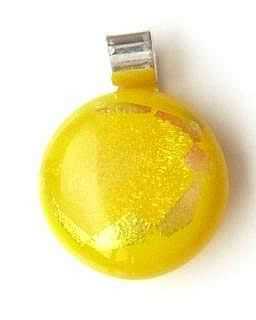 Small sunshine yellow glass pendant with a golden dichroic window effect.