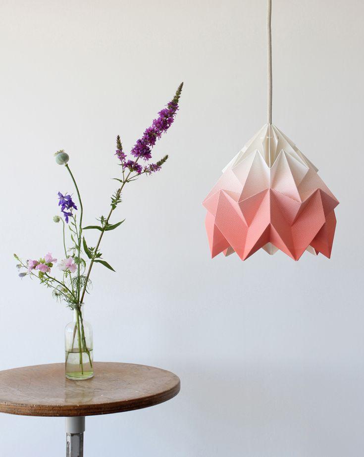 Paper Empire Australia – Snowpuppe 'Moth Gradient' paper origami lampshade in pink. paperempire.com.au