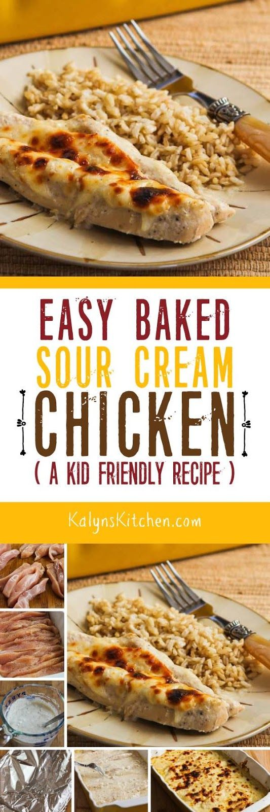 You won't find many recipes on my blog that use canned soup, but this Easy Baked Sour Cream Chicken is actually pretty darn delicious, and if you're cooking for kids this recipe is about as kid-friendly as you can find and it's low-glycemic and gluten-free for the adults! [found on KalynsKitchen.com]