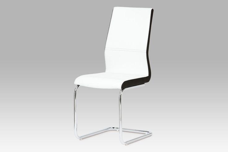 DCL-821 WT Jídelní židle v bílé kožence v kombinaci s černými boky.