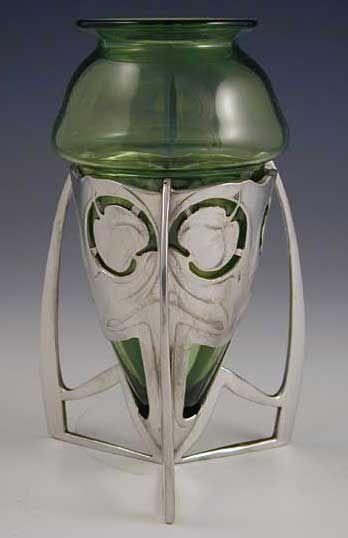 Archibald Knox for Liberty & Co. Pewter & Green Glass Vases