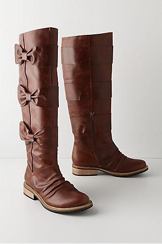 Leather boots with bows from Anthropologie. They're from their 2010 line but maybe someday eBay would have them, They are so cute!