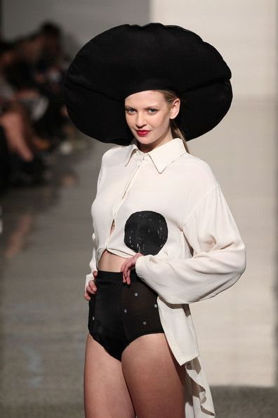A model showcases designs by Love Hotel on the runway during the NZFD Designer Showcase show during New Zealand Fashion Week at the Viaduct Events Centre on September 5, 2013 in Auckland, New Zealand.