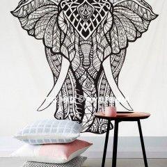 Black & White Asian Elephant Tapestry