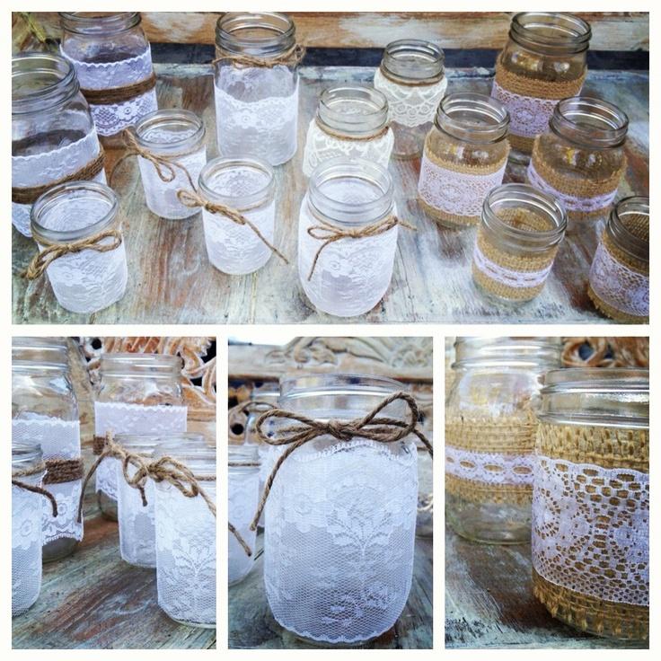Lace & Burlap wrapped Mason Jars | DIY | Create one of a kind www.boxcreativeagency.com
