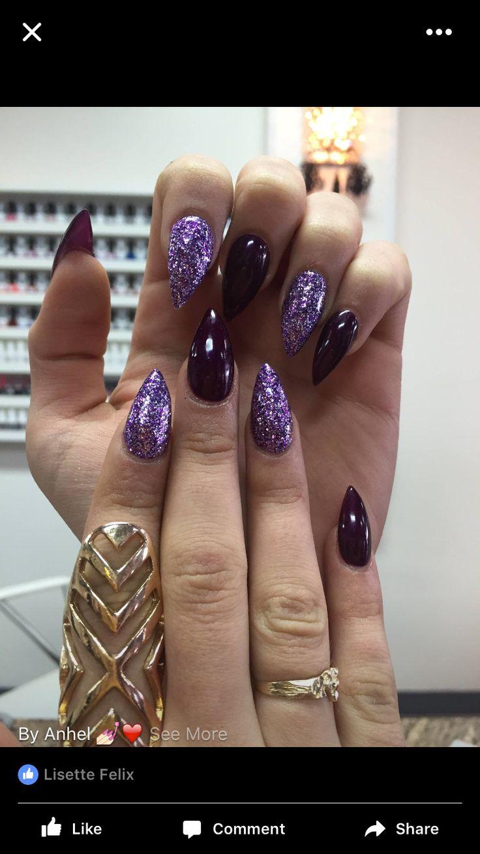 Black and purple glitter acrylic nails