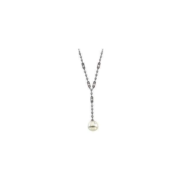 14k White Gold Cultured Pearl & Diamond Necklace 3/4 ct tw