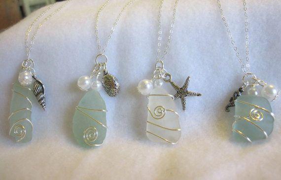 Wedding Jewelry Sea Glass,  Jewelry for Bridesmaids Blue Beach Sea Glass Jewelry, Sea Glass Necklace Sets