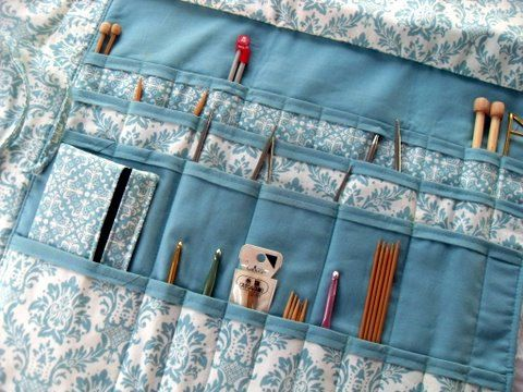 Knitting Needle Organizing Bag Large Combination Straight Circular Crochet Double Points Damask. $39.99, via Etsy.