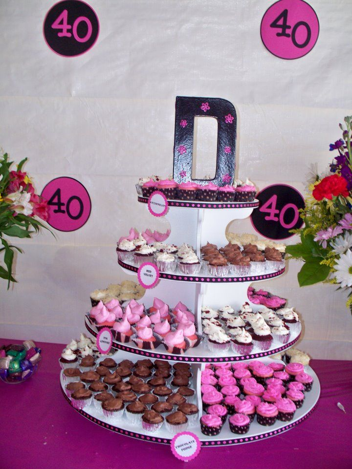 40th birthday party cupcake stand21 best Party images on Pinterest   Birthday party ideas  40th  . Diy Centerpieces For 40th Birthday Party. Home Design Ideas