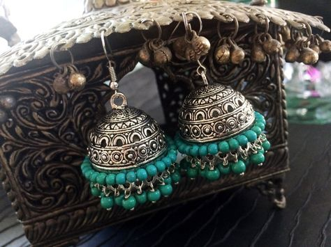 Turquoise Earrings,Turquoise Green Large SILVER Jhumkas,Ethnic ,Dome earrings,tribal Jhumkis,Indian Jewellery Silver bell earrings by taneesijewelry on Etsy