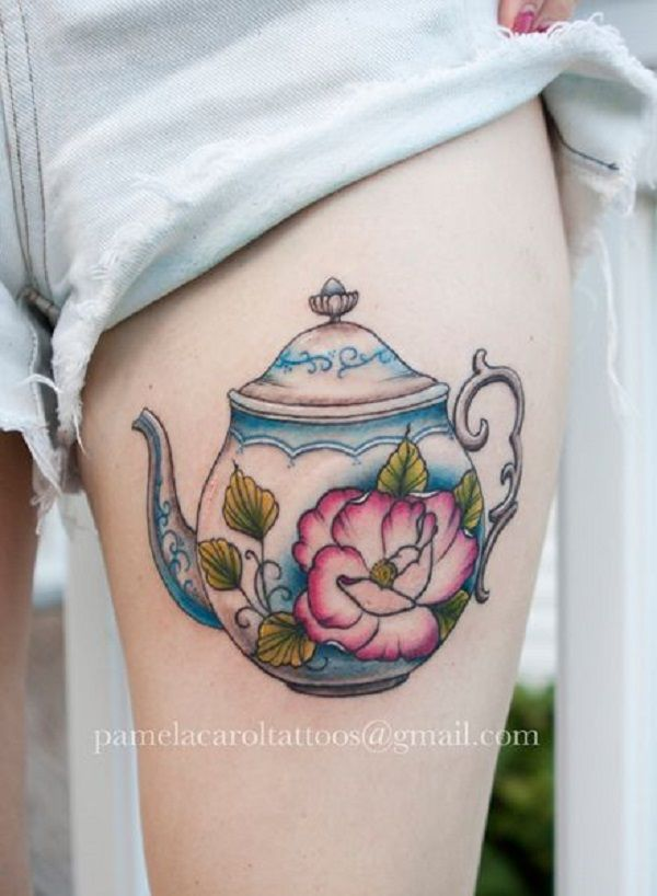 The Floral Teapot Tattoo Piece. This one might be your teapot, if you really owe the traditional teapot set.