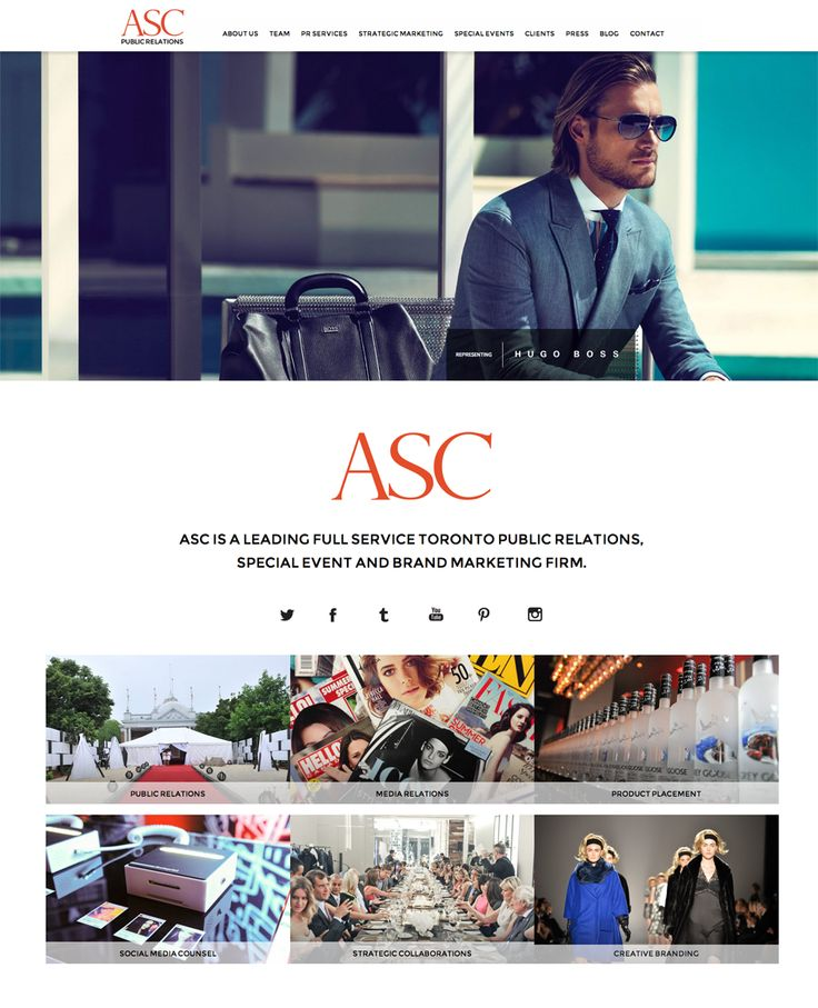 ASC Public Relations website design by Macroblu.