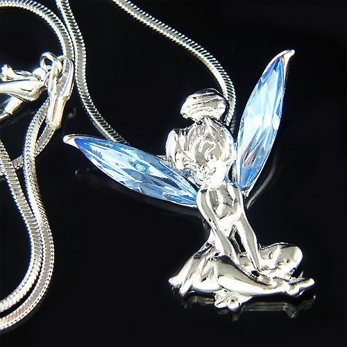 Blue Swarovski Crystal Fairy TINKERBELL Tinker Bell Angel Wings Pendant Necklace Christmas Gift new on Etsy, $38.00