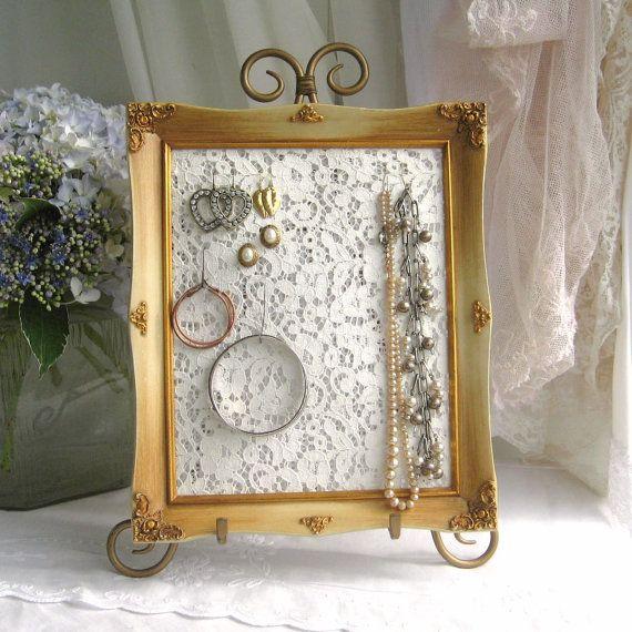Romantic Earring Holder Shabby Chic Jewelry Display by Joyousworld