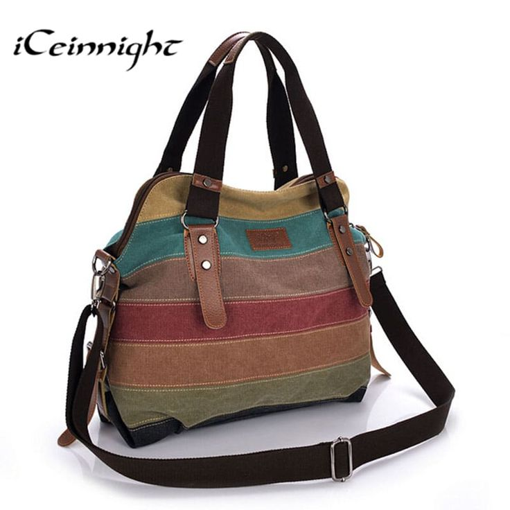 Canvas Striped High-Quality Women's Messenger Tote Bag //Price: $34.95 & FREE Shipping //     #love