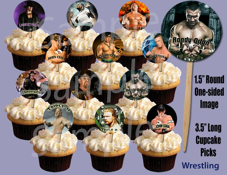 wwe cake toppers 1 5 quot circle image cupcake picks cake toppers 1503