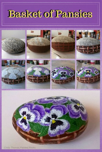 Painting a Basket of Pansies on a Rock