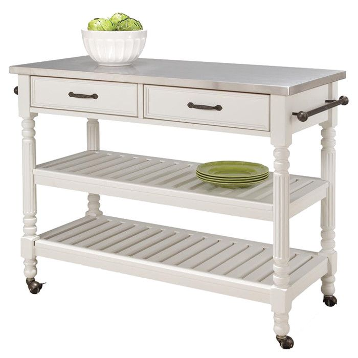 Savannah Kitchen Cart in White -