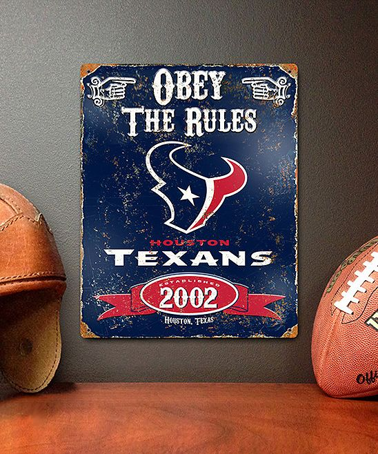 Houston Texans Vintage 'Obey the Rules' Wall Sign