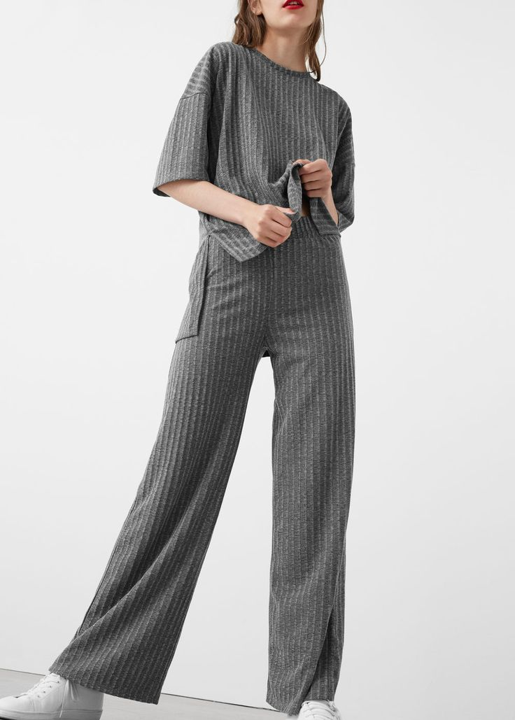 Ribbed trousers | MANGO