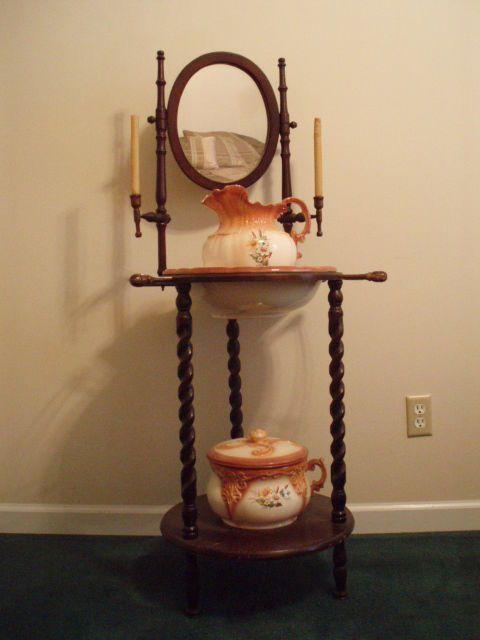 Vintage Wood Washbasin Stand W Mirror Ceramic Pitcher