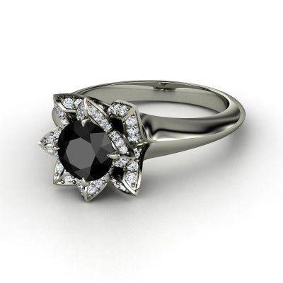 Round Black Diamond 14K White Gold Ring with Diamond - lay_down