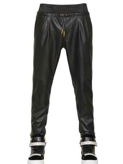 $2,550, Black Leather Sweatpants: 17cm Nappa Leather Trousers. Sold by LUISAVIAROMA.