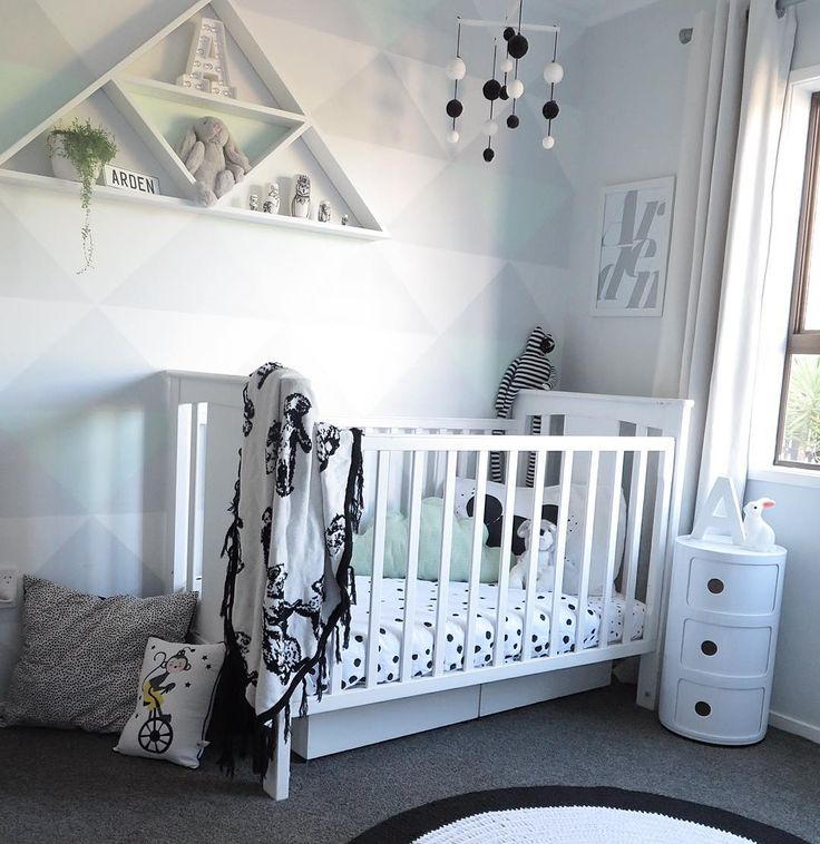 T A R R Y N on Instagram: @iamtarryndonaldson  Arden's monochrome nursery with hints of mint. DIY feature wall on the blog