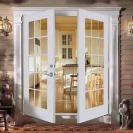 ReliaBilt��5' ReliaBilt French Patio Door Wind Code Approved Steel 15-Lite Insulated Glass White Out-Swing Brick Mold Left Hand Screen Not Included