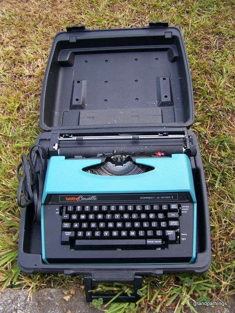 LOL.  In it's plastic carry case, too!  Brother Cassette Electric Typewriter Correct-O-Riter I Brother