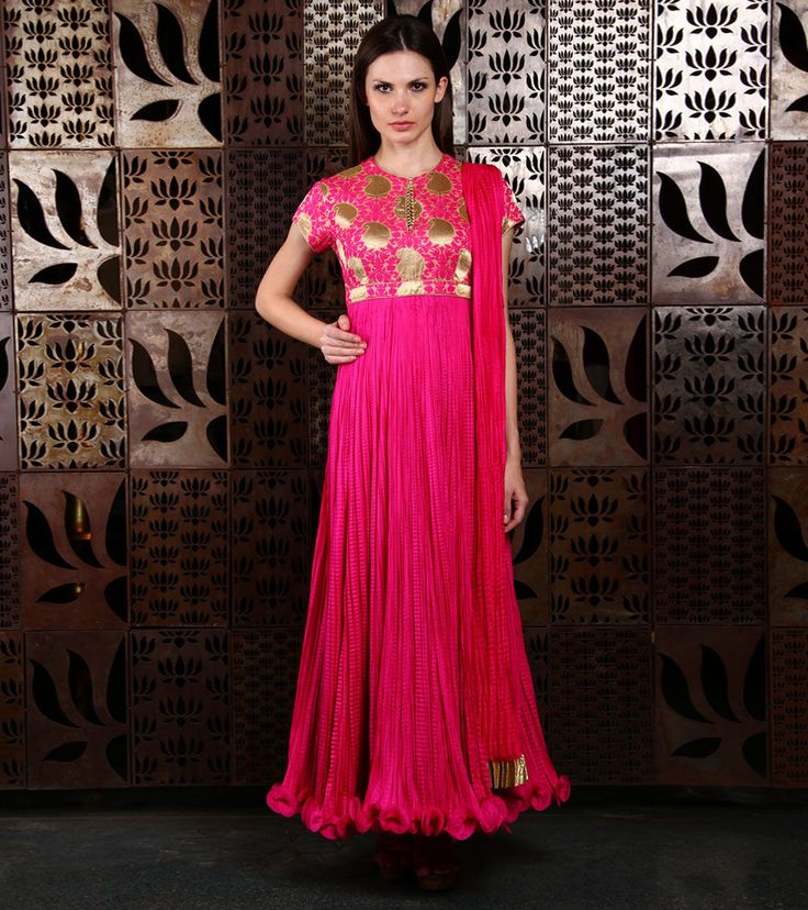 Pink #Brocade #Anarkali #Suit by #Rohit #Bal at #Indianroots