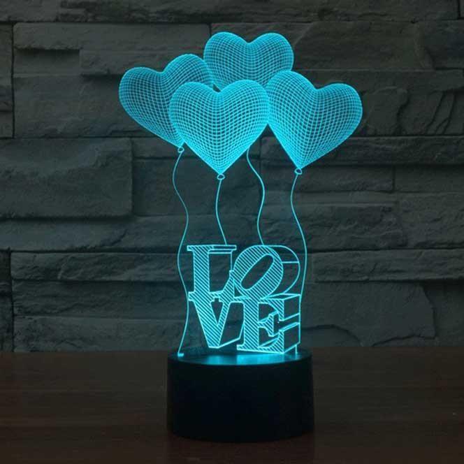 Love Balloons 3d Illusion Lamp 3d Illusion Lamp Night Light 3d Lamp