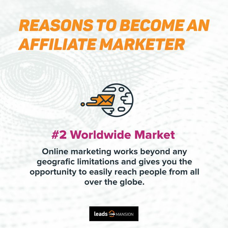 Reason number two to become an #AffiliateMarketer 📊 🌏 2: Worldwide market 🌏 Find out, how does it works: http://leadsmansion.com/en/affiliates