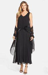 Black by Komarov Pleated Chiffon Gown & Shawl