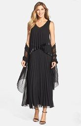 Black by Komarov Pleated Chiffon Gown & Shawl