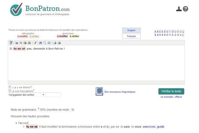 Un petit doute sur votre orthographe, avant de publier votre  texte sur internet, les réseaux sociaux ou votre document print ?  Voici BonPatron, un correcteur d'orthographe en ligne qui saura vous indiquer en quelques secondes s'il y a une faute dans votre contenu ! L'adresse de cet outil : http://bonpatron.com/