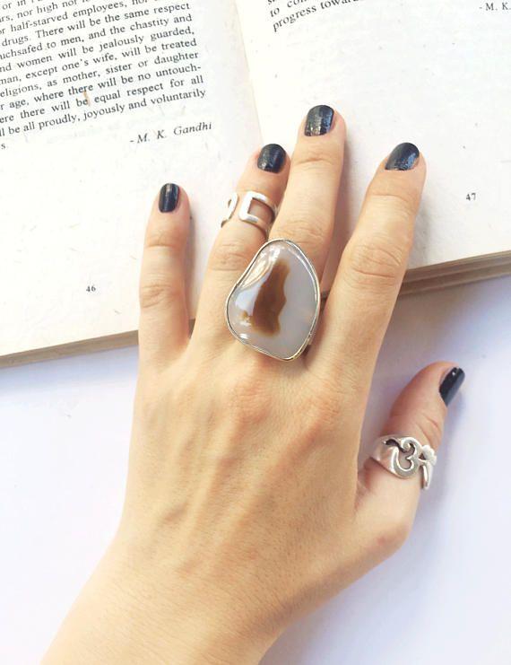 Beige agate ring big stone agate beige stone stone ring