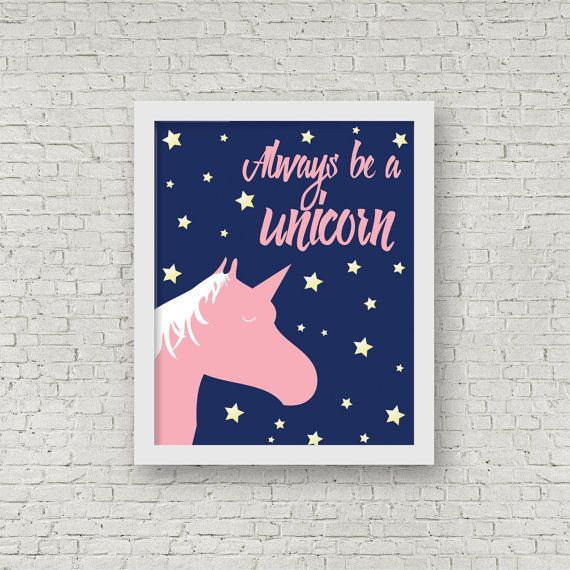 Always Be A Unicorn Art Print Girls Bedroom by ColourscapeStudios