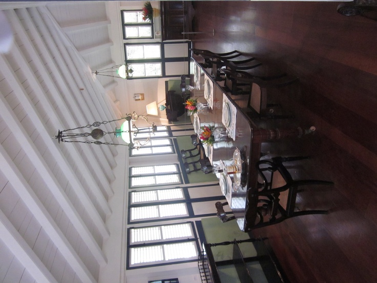 Habitation Clement - The dining room - on the enclosed verandah.