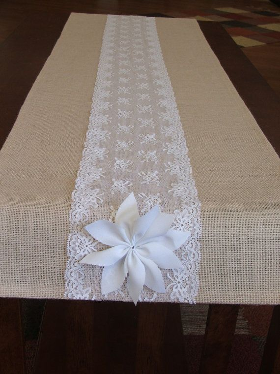 Burlap table runner with white lace wedding by DaniellesCorner for our wedding tables