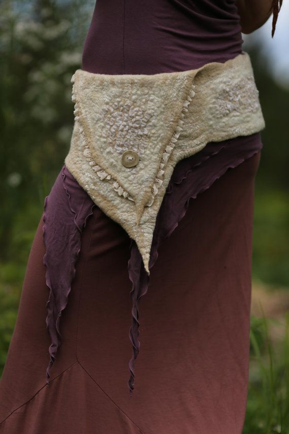 Gypsy Felt Belt / Pixie Pocket in White Merino Wool by SolMundoArt