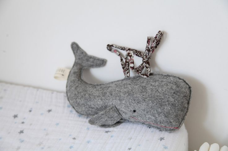 little felt whale with squeaker www.junkaholique.com