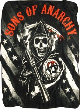 Sons of Anarchy Reaper Stars Stripes Fleece Throw Blanket