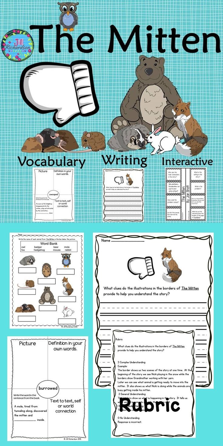 The Mitten by Jan Brett is a delightful story and this activity includes an interactive comprehension printable, vocabulary graphic organizers and common core aligned mitten writing activities with rubrics.  It includes: 8 vocabulary graphic organizers from The Mitten A fun interactive comprehension printable to show understanding of The Mitten Vocabulary flash cards 2 writing prompts aligned with Common Core! 2 writing rubrics A labeling printable