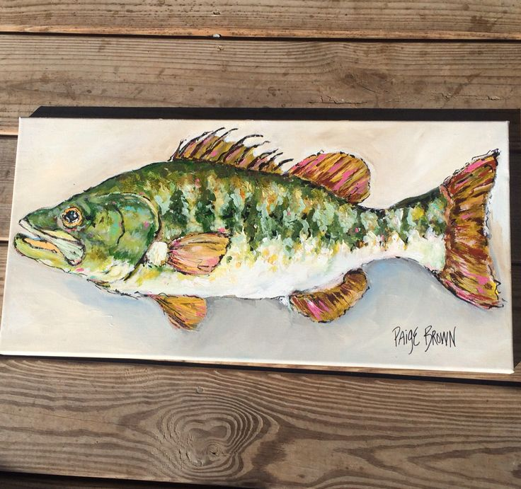Paigebrownart etsy 12 x 24 canvas original art bass fish for Bass fish painting