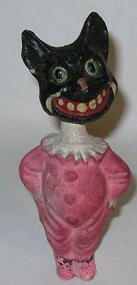 Early Vintage German Halloween Black Cat Papier Mache Nodder in Clown Suit   eBay