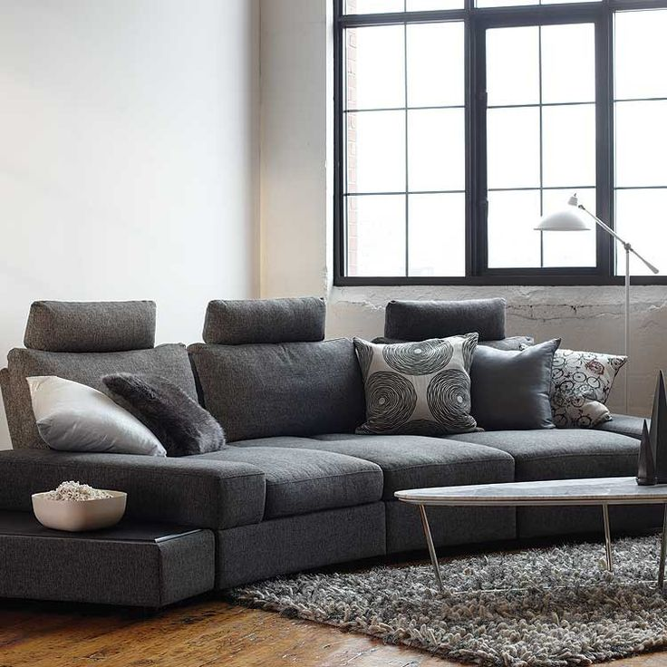 Modern Style Sectional With Adjustable Headrests Amp Deep